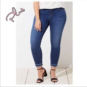 LOFT Plus Double Frayed Skinny Ankle Jeans